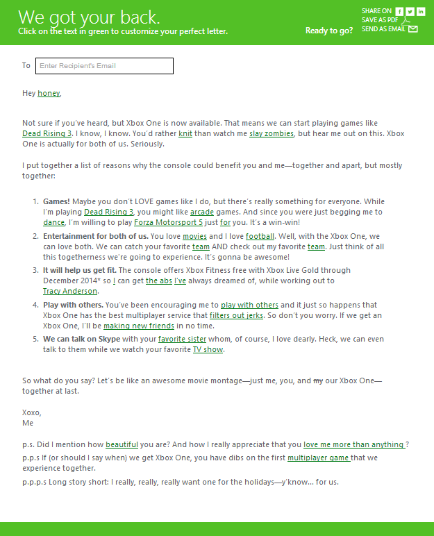 Xbox One sexist promo letter