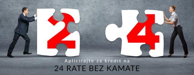 Muškarac i žena sa simboličnim puzzle delovima koje treba uklopiti i natpis o apliciranju za kredit bez kamate