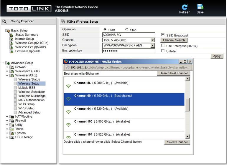 Totolink A2004NS web UI wifi