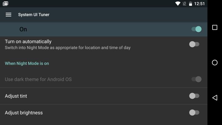 Android N nocni mod