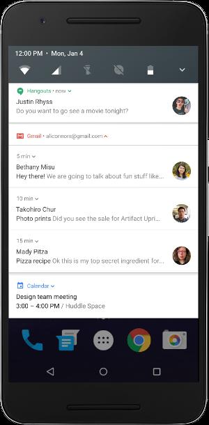 Android N sjedinjena obavestenja