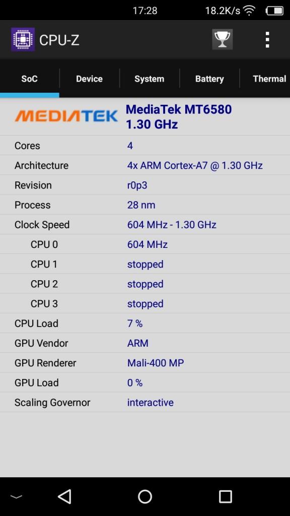 Elephone S1 CPU-Z