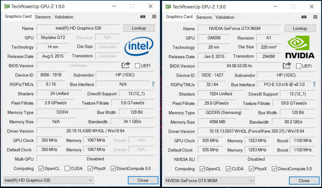 GPU-Z HP Omen 01