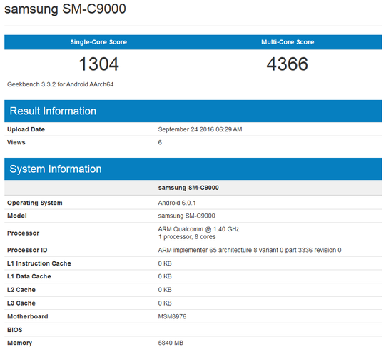 Samsung Galaxy C9 Geenbench