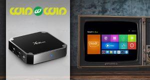 Android TV Box Gembird X96 mini i stari televizor sa prikazanim pametnim opcijama kao što su - Youtube, Play store