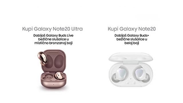 Samsung Galaxy Buds Live mistično bronzane i Buds plus bele bežične slušalice