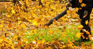 Čovek duvačem za lišće prikuplja opalo jesenje lišće i sređuje dvorište