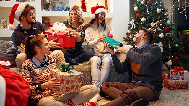 Prijatelji su se okupili u dnevnoj sobi pored novogodišnje jelke ukrašene svecicama, belim i crvenim lampionima. Svi su veoma raspoloženi, nasmejani. Sede na krevetu, a neki na podu i razmenjuju praznične poklone zapakovane u prelepim kutijama sa mašnama različitih boja. Dečko i devojka nose i novogodišnje kape