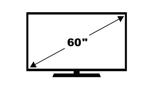 Skica televizora sa strelicama koje prikazuju dijagonalu
