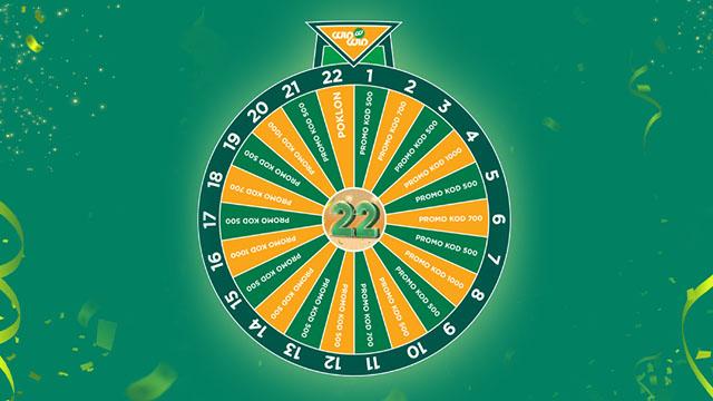 Narandžasto zeleni točak sreće kreiran povodom proslave 22. rođendana WinWIn-a