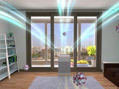 Prečišćivač vazduha u stanu i moderno opremljenoj dnevnoj sobi uništava viruse i bakterije