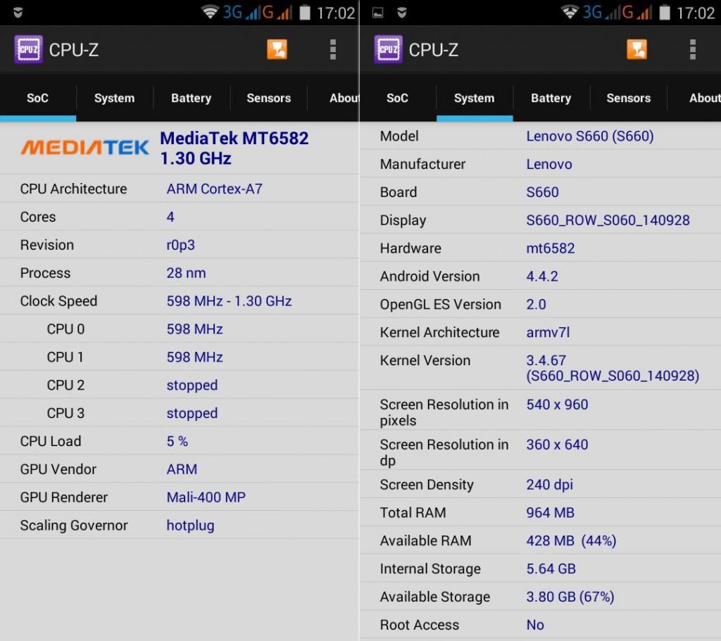 Lenovo S660 CPU-Z