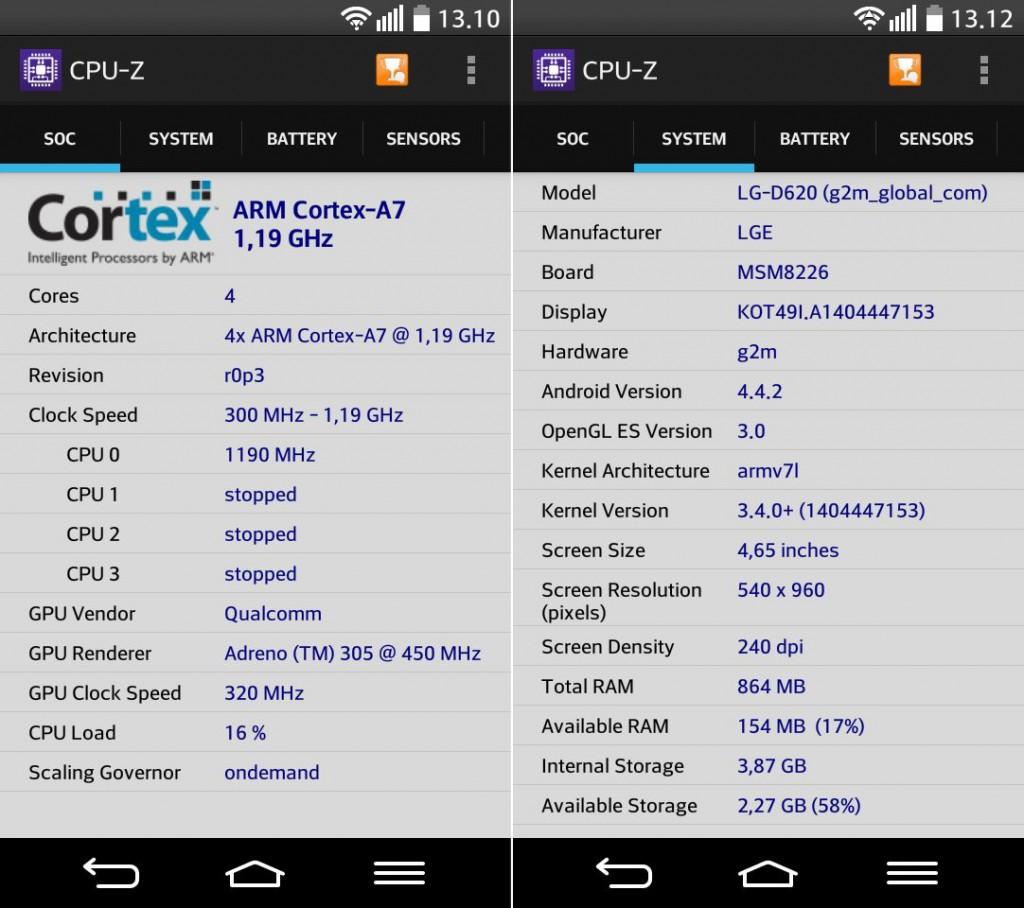 LG G2 mini CPU-Z