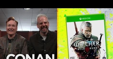 Conan O'Brien playing The Witcher 3 Wild Hunt