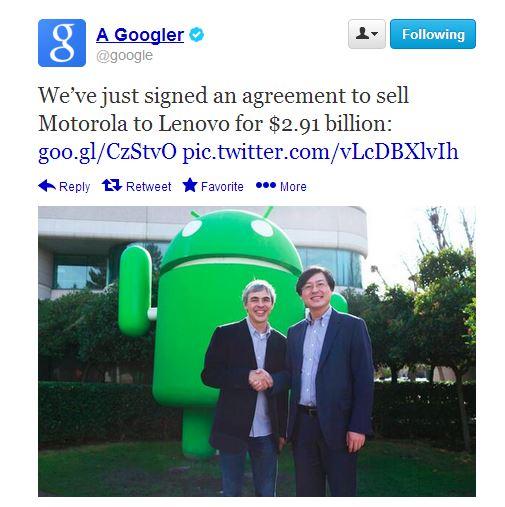 Google prodaje Motorolu