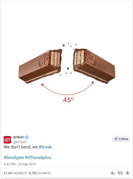 KitKat iPhone 6 bend