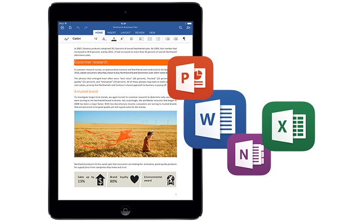 MS Office on tablet