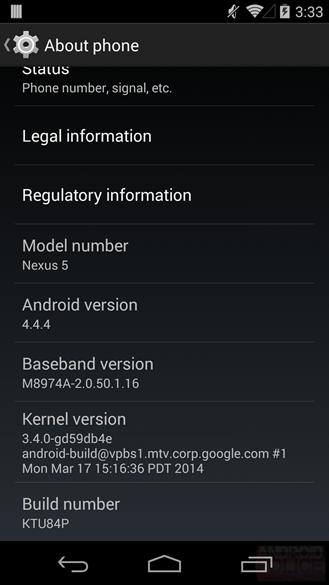 Nexus 5 Android 4.4.4